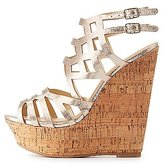 Charlotte Russe Caged Cork Wedge Sandals