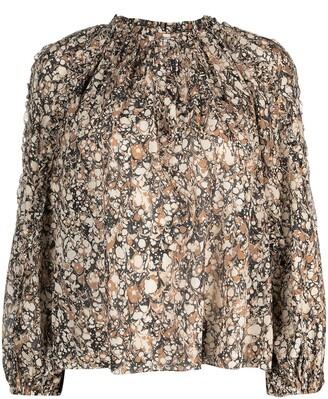 Ulla Johnson Edith marble-print long-sleeved blouse