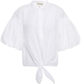 Nicholas Alina Tie-front Cotton And Silk-blend Top