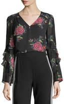 Nanette Lepore Margarita V-Neck Floral Silk Top