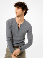 Michael Kors Ribbed Cotton-Blend Henley