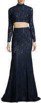 La Femme Long-Sleeve Beaded Lace Two-Piece Gown, Navy