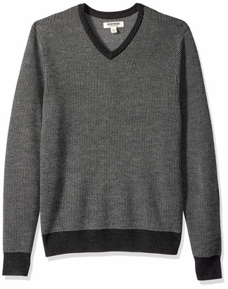 Goodthreads Amazon Brand Men's Lightweight Merino Wool V-Neck Birdseye Sweater