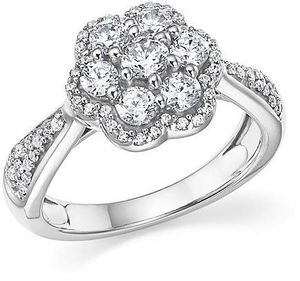 Bloomingdale's Diamond Cluster Flower Ring in 14K White Gold, 1.0 ct. t.w.