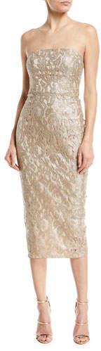 Maria Bianca Nero Emily Strapless Metallic Lace Back-Ruffle Cocktail Dress