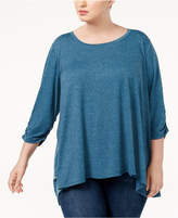 Style&Co. Style & Co Plus Size Ruched-Sleeve High-Low Hem Scarf Top, Created for Macy's