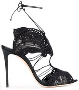 Casadei macramè lace evening sandals
