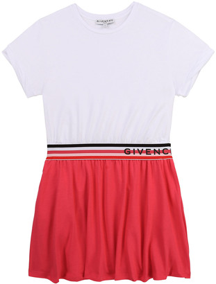 Givenchy Girl's Two-Tone Striped Logo Dress, Size 4-10