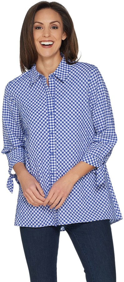 c1bb62e5a92 Blue Gingham Shirt Women - ShopStyle