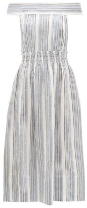 Three Graces London Porcia Striped Off-the-shoulder Linen Dress - Blue Stripe