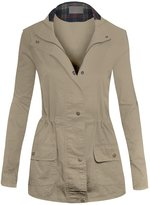 Hot From Hollywood Women's Casual Zip Front Utility Anorak Drawstring Waist Jacket with Hood