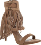 Max Studio by Leon Max Evi - Suede Ankle Wrap Sandals With Fringe