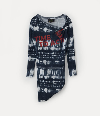 Vivienne Westwood Long Sleeve Punk Dress Black Tie-Dye
