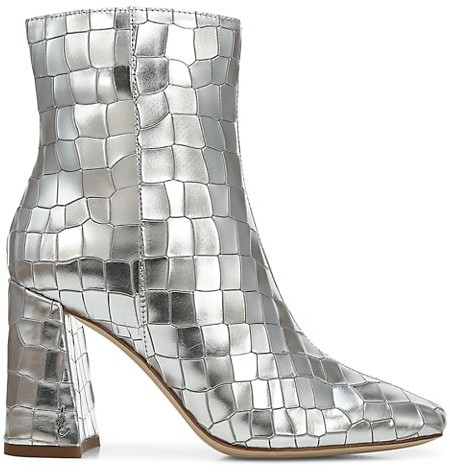Sam Edelman Codie Metallic Croc-Embossed Leather Ankle Boots