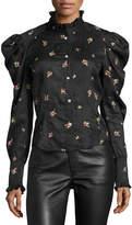 Isabel Marant Utah Rose-Embroidered Puff-Sleeve Blouse, Black