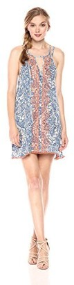 En Creme Women's Embroidered Printed Swing Dress