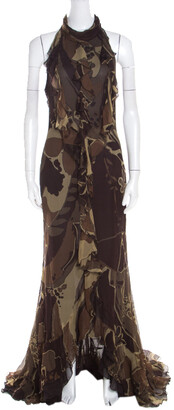 Escada Green and Brown Fauna Print Plisse Silk Ruffled Halter Maxi Dress M