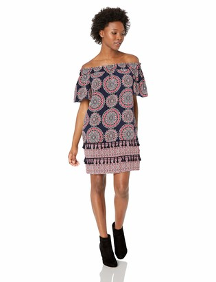Maggy London Women's Petite Printed Off The Dress with Novelty Detail
