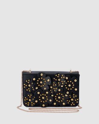 Olga Berg Women's Black Cross-body bags - Aerin Flower Covered Shoulder Bag - Size One Size at The Iconic