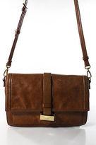 Badgley Mischka Brown Leather Gold Accent Medium Shoulder Handbag