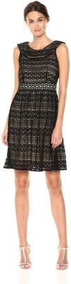 Taylor Dresses Women's Fit and Flare Cap Sleeve Dress Black Nude 4
