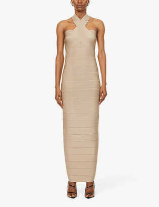 Herve Leger Bandage halterneck stretch-knit gown