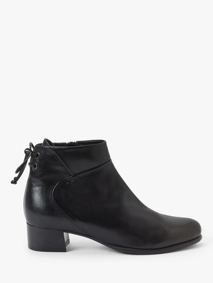 John Lewis & Partners Peggy Leather Tie Back Ankle Boots, Black