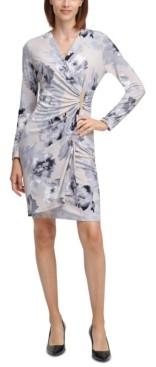 Calvin Klein Floral-Print Gold-Tone Side-Tab Sheath Dress