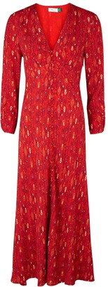 Rixo Katie Red Printed Midi Dress