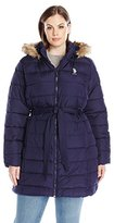U.S. Polo Assn. Women's Plus Size Puffer Coat with Self Belt and Faux Fur Trimmed Hood