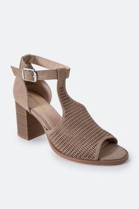 Restricted Fayla Perforated Heeled Sandal - Taupe