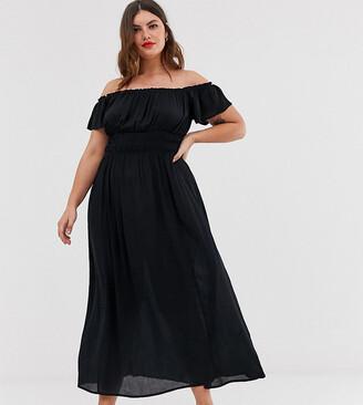 Asos DESIGN Curve off shoulder crinkle maxi dress