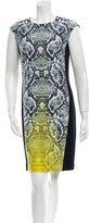 Magaschoni Silk Snakeskin Print Dress