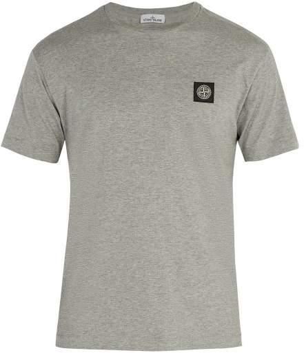 Stone Island Logo Patch Cotton T Shirt - Mens - Grey