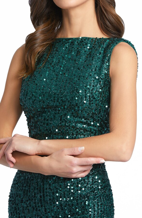 Thumbnail for your product : Mac Duggal Sequin Drape Back Trumpet Gown