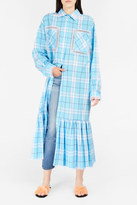 Natasha Zinko Plaid Ruffle Hem Maxi Shirtdress