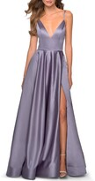 Thumbnail for your product : La Femme Deep V-Neck Lace-Up Back Satin A-Line Gown