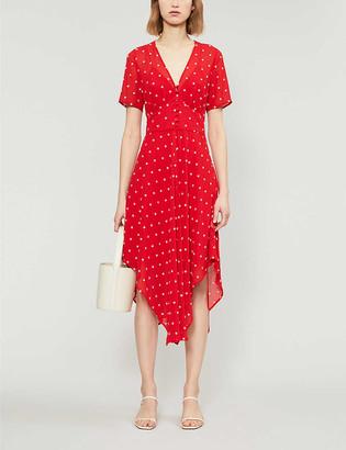 Maje Raola flower-embroidered short-sleeve midi dress