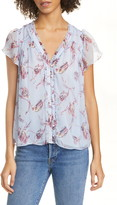 Joie Saesha Floral Crinkled Silk Top