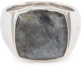 Tom Wood 'Cushion Larvikite' silver signet ring Size 58