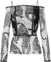 Yigal Azrouel off-shoulders leopard embroidery blouse
