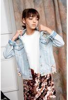 River Island Girls Blue RI Studio brooch denim jacket
