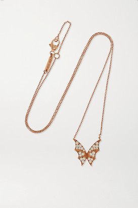 Stephen Webster + Net Sustain Fly By Night Wings 18-karat Rose Gold Diamond Necklace - one size
