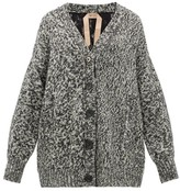 No.21 No. 21 - Crystal-button Lace-panel Cardigan - Womens - Grey