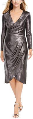 Adrianna Papell Metallic-Jersey Faux-Wrap Dress