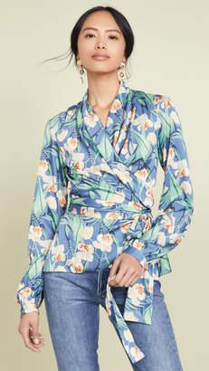 PatBO Floral Print Wrap Top