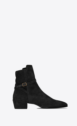 Saint Laurent Boots Clementi Buckle Boots In Suede Black 10