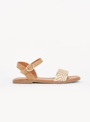 Evans EXTRA WIDE FIT Nude Chevron Strap Sandals