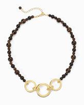 White House Black Market Smokey Quartz Goldtone Chain-Link Short Necklace