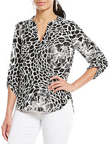 Gibson & Latimer Black and White Floral 3/4 Sleeve Roll Tab Blouse